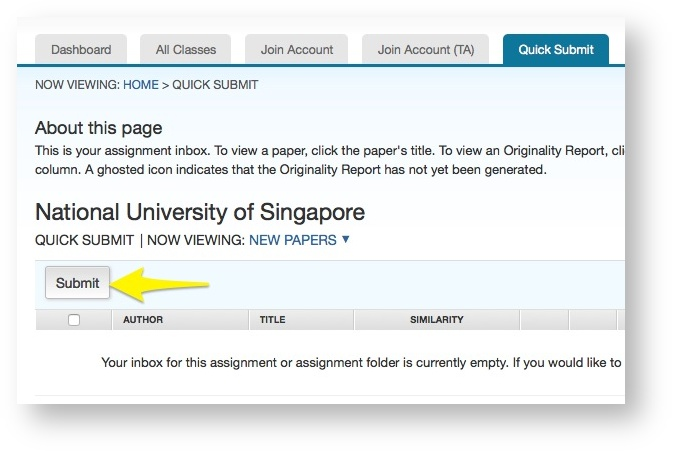 Set up and use Turnitin Quick Submit (Direct - Instructor