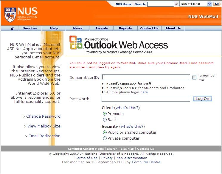 School email - CS1105 Group Reports 2008 - Wiki nus