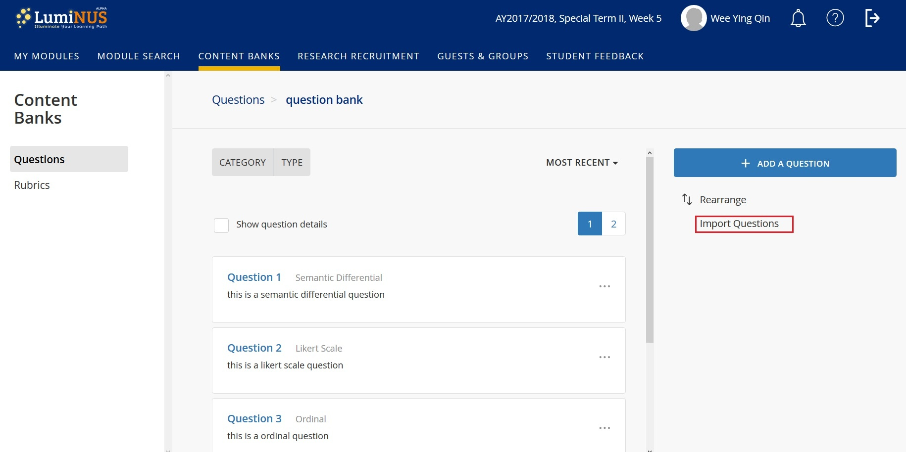 How to import questions into question bank? - LumiNUS Staff Guide