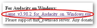 Scroll down the page until you see For Audacity on Windows, as shown below.